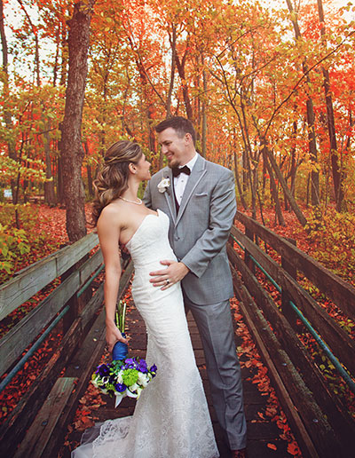 Fall Wedding Schlitz Audubon Bridge